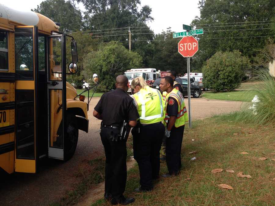 A Jackson Public Schools bus and a car collide at Will O Wood Road and Will O Run Drive.