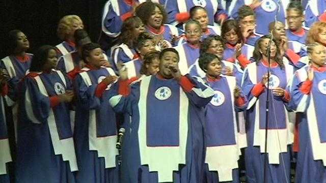The Mississippi Mass Choir performs at Thalia Mara Hall.