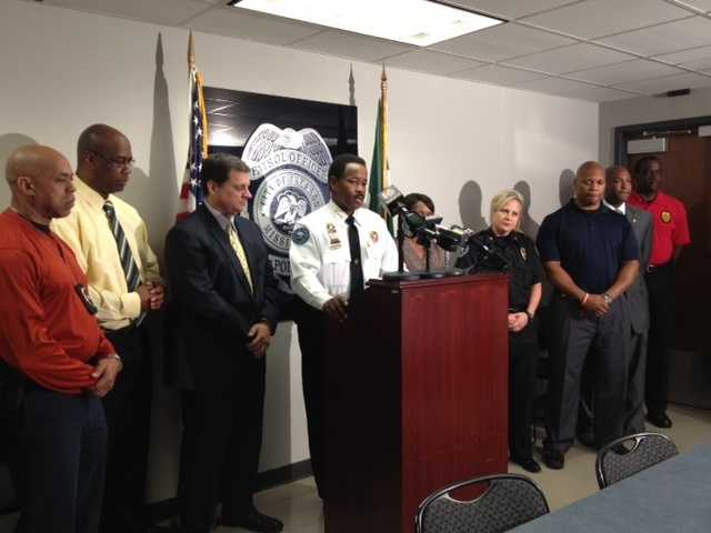 JPD Chief Lindsey Horton announces an arrest in connection with the slayings on Moon Street.
