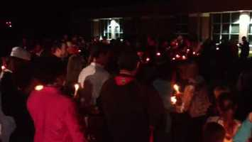 A candlelight vigil was held Tuesday night outside Stonebridge Elementary School, where Jaidon Hill was a student.