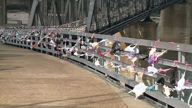 Hundreds of bras lined the Old Highway 80 Bridge over the Mississippi River for a good cause.