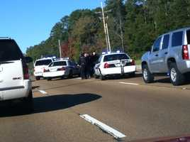 The pickup truck rammed three Flowood police vehicles before it was stopped on Lakeland Drive, police said. One of the officers injured his knee in the collision.