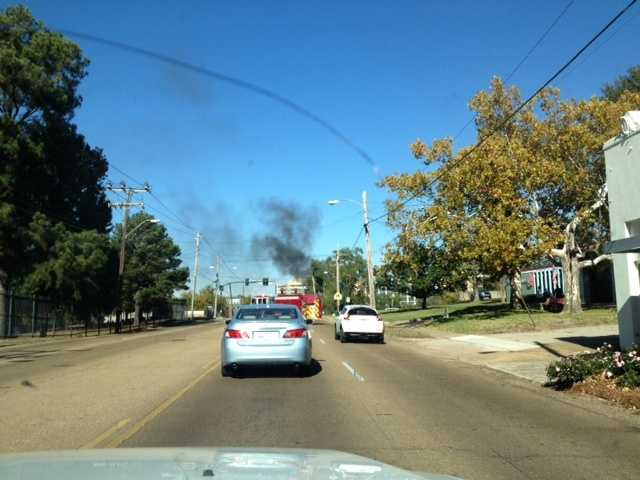 A truck burst into flames on Woodrow Wilson and North State Street.
