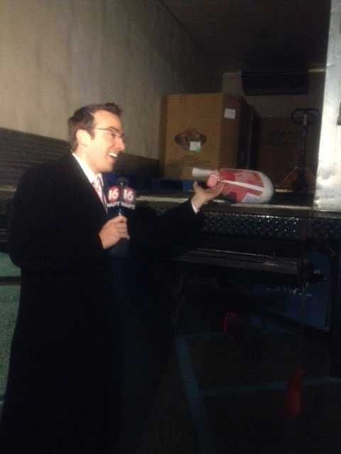 16 WAPT meteorologist Ethan Huston was out early Thursday at the Kroger on Interstate 55 to kick off Turkey Drive 16.