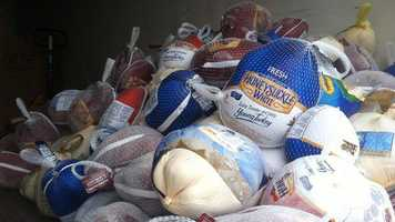By about 8 a.m., nearly 200 turkeys had been collected.