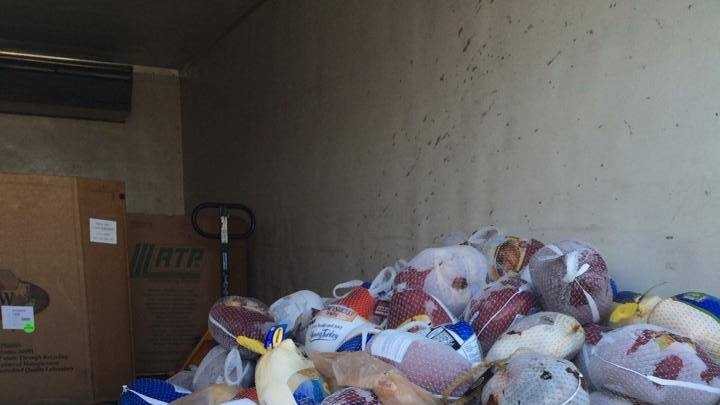 16 WAPT meteorologist Brittany Bell posted this picture on her Facebook page. She said by about 9:30 a.m. Thursday, the morning team had collected 250 turkeys.