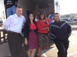 16 WAPT's Darren Dedo, Jennifer Ortega, Stephanie Maxwell and Andrew Kinsey spent the afternoon at the Kroger on Interstate 55 collecting turkeys for Turkey Drive 16.