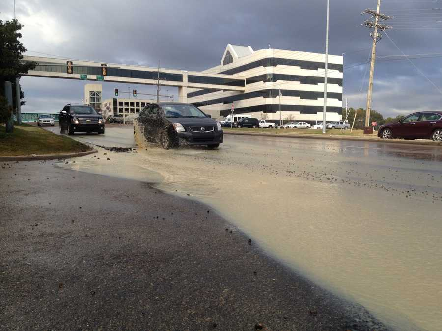 A water main break caused water to gush onto Lakeland Drive on Monday.