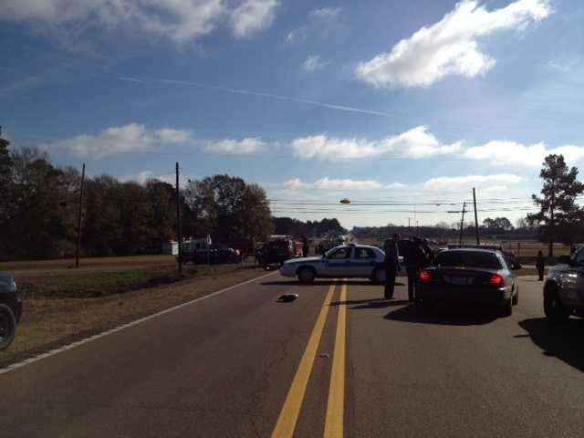 Traffic was stopped on Highway 27 as crews worked to clean up the wreck.