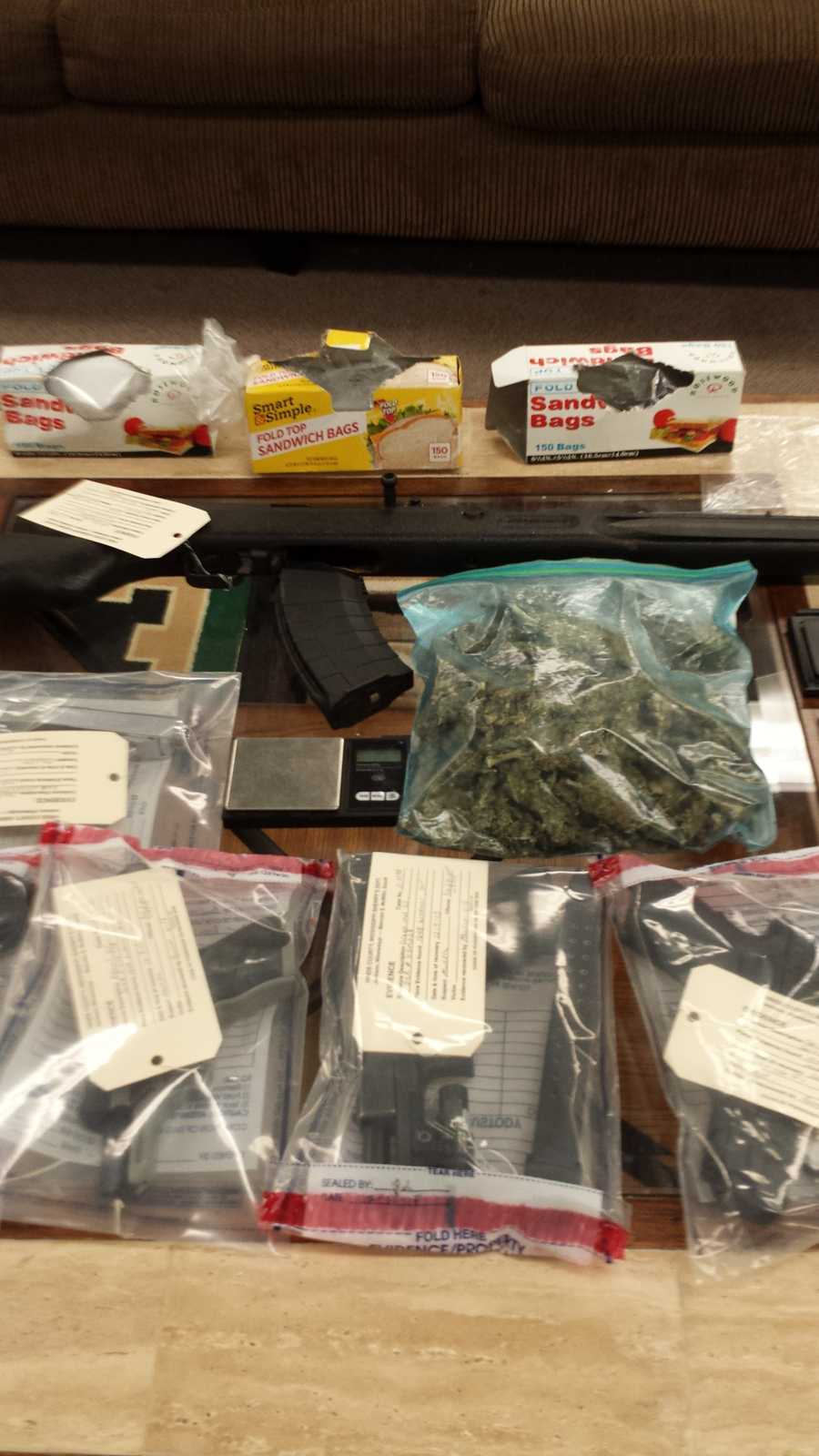 Deputies arrested the following eight people, all of whom were charged with possession of marijuana with the intent to distribute while in possession of a firearm.