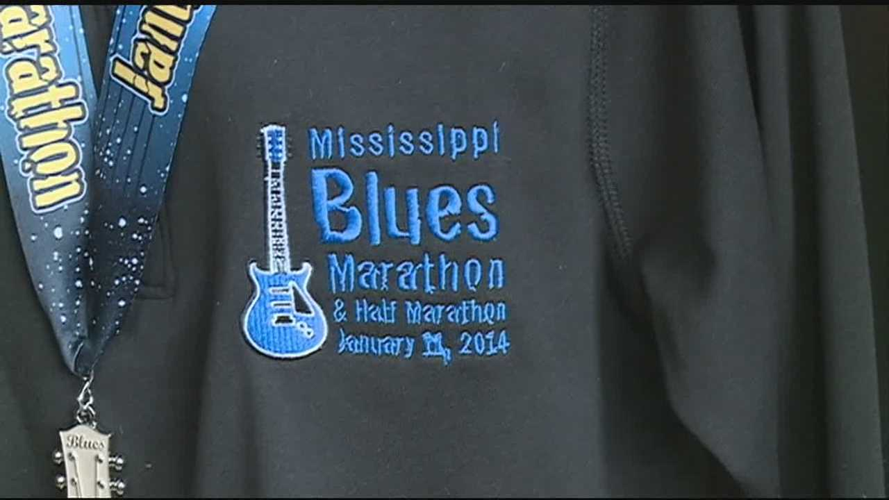 Runners prepare for the Mississippi Blues Marathon