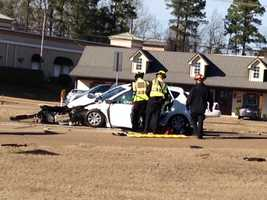 16 WAPT viewer Debra Pena sent these photos of a crash in Flowood to the newsroom.
