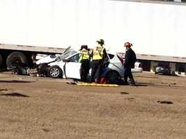 The crash happened about 2:30 p.m. Thursday on Lakeland Drive in front of Community Bank.