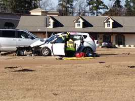 Flowood Police Chief Johnny Dewitt said a car crossed over a lane and T-boned another vehicle.