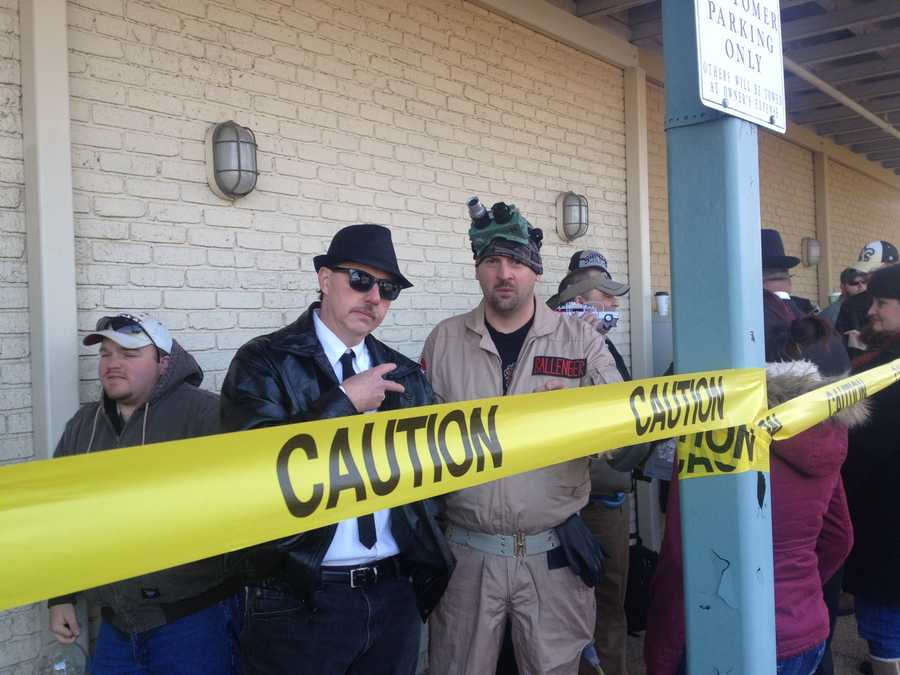 Some dressed in costumes from Aykroyd's movies.
