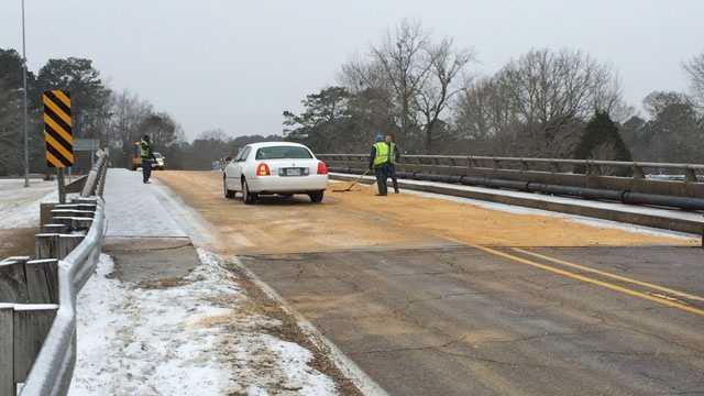 McComb snow on bridge