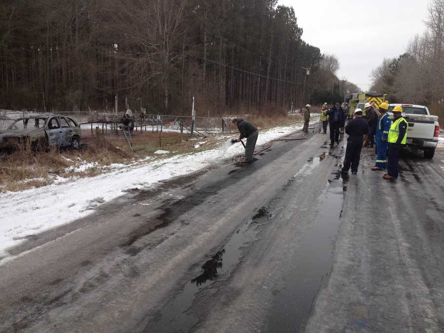 About 16 families were evacuated after the crash released gas from the regulator station.