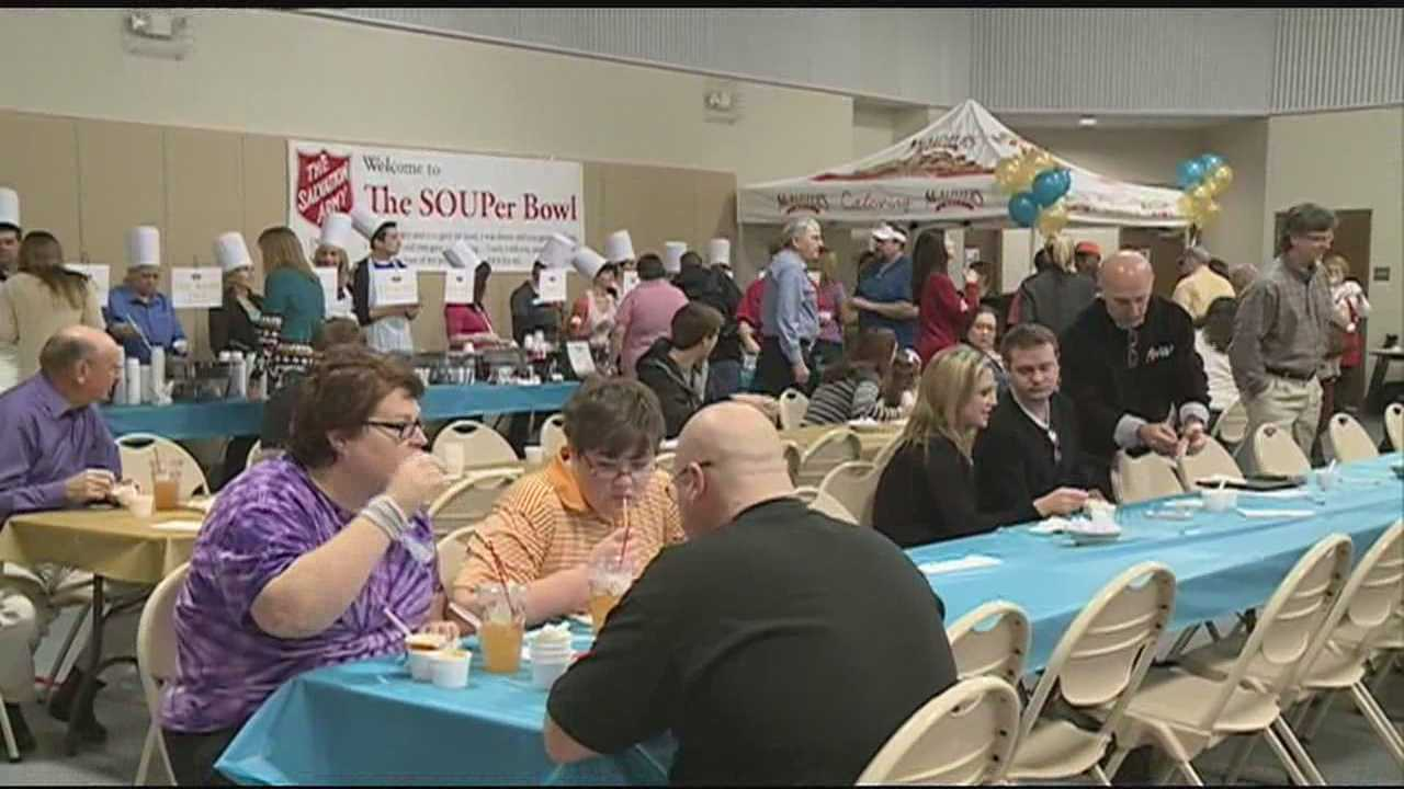 THE SALVATION ARMY HELD THEIR 17TH ANNUAL SOUPERBOWL THIS AFTERNOON -- WHERE PEOPLE ATE SOUP FOR A GOOD CAUSE.