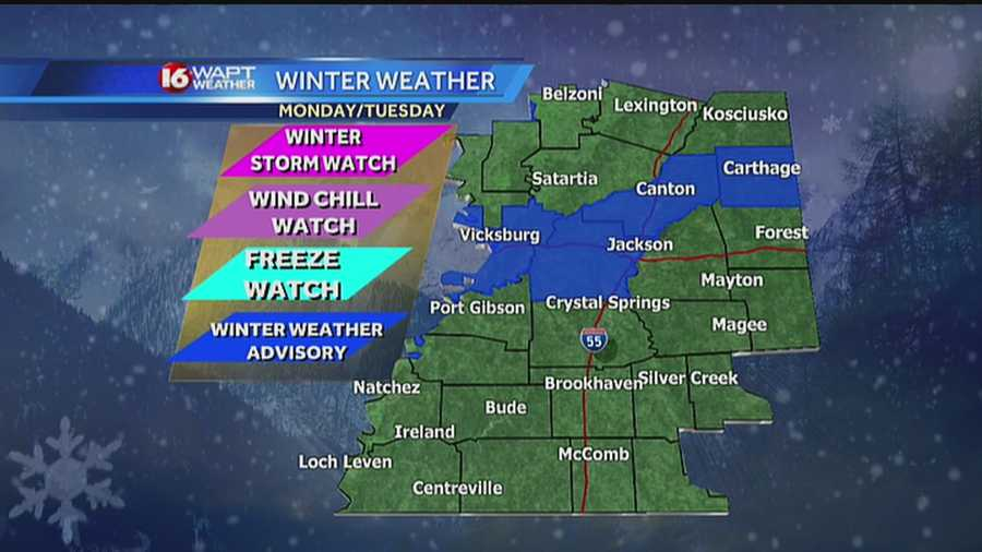 Areas of Mississippi are under winter weather advisories as temperatures drop and a storm approaches.