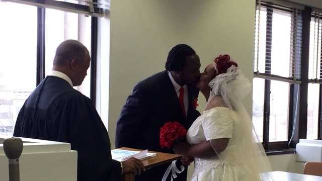 Officials at the Hinds County Courthouse say there were more marriage ceremonies performed on Friday than they've seen in a long time. By lunchtime, 20 couples had been married, and the number was growing.
