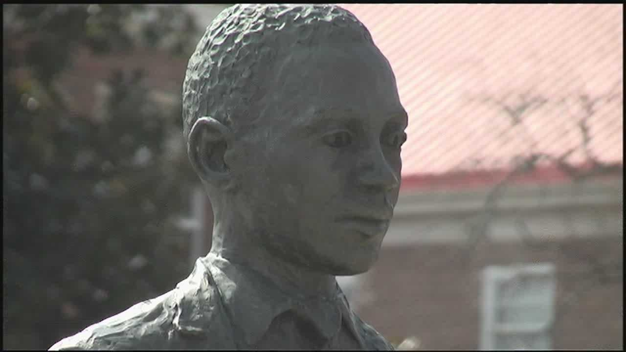 A statue on the University of Mississippi campus honors James Meredith's role as the university's first African American student after its contentious 1962 integration.