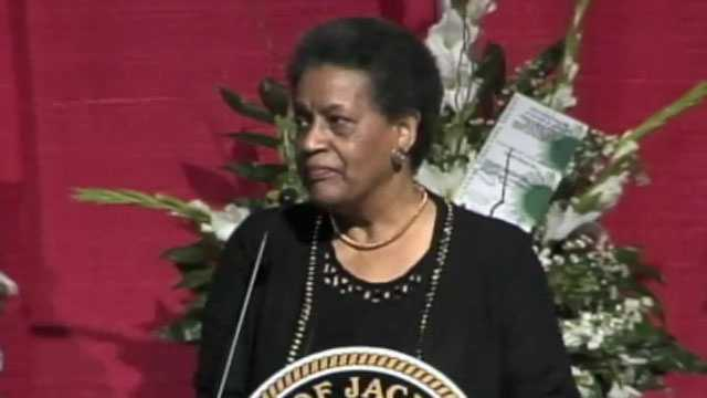 Myrlie Evers Williams speaks at the mayor's funeral.