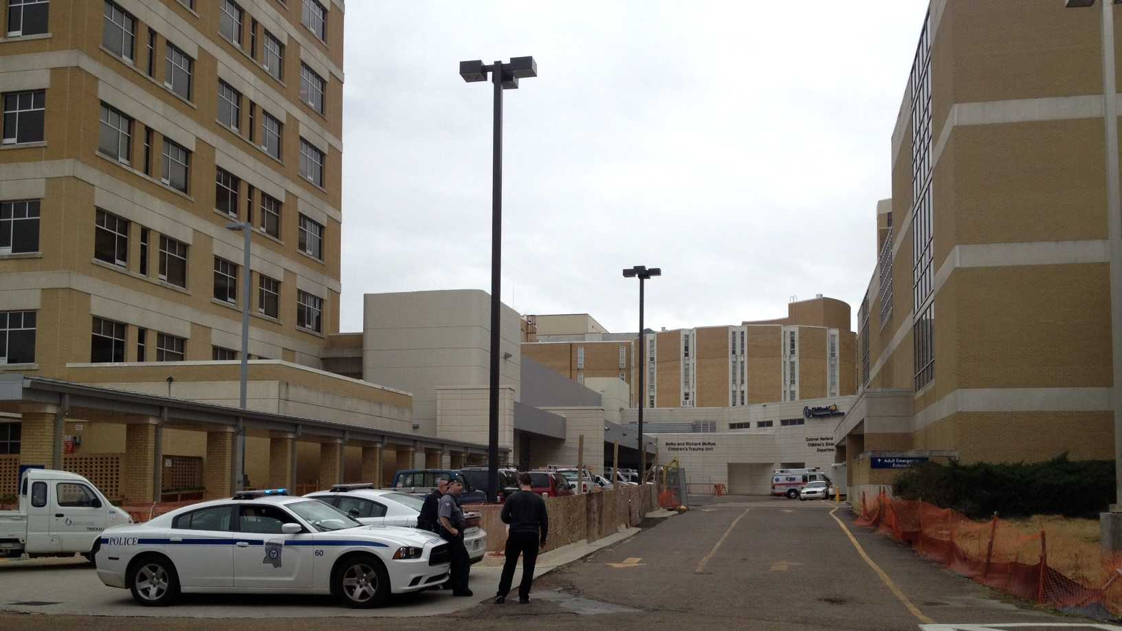 Officers were at UMC Tuesday, where a Brandon officer was being treated for injuries he suffered in a motorcycle crash.
