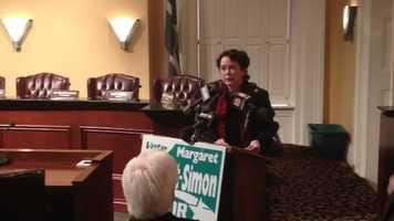 City Councilwoman Margaret Barrett-Simon announces her candidacy for Jackson mayor.