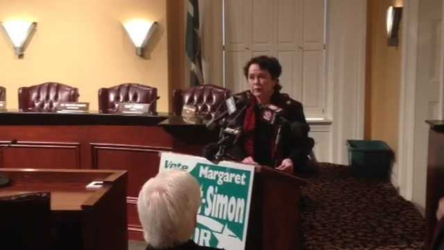 City Councilwoman Margaret Barrett-Simon announces her candidacy for Jackson mayor.