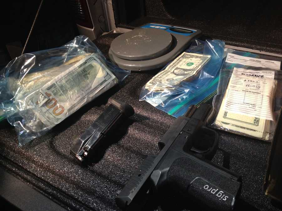 A handgun and cash were also recovered.
