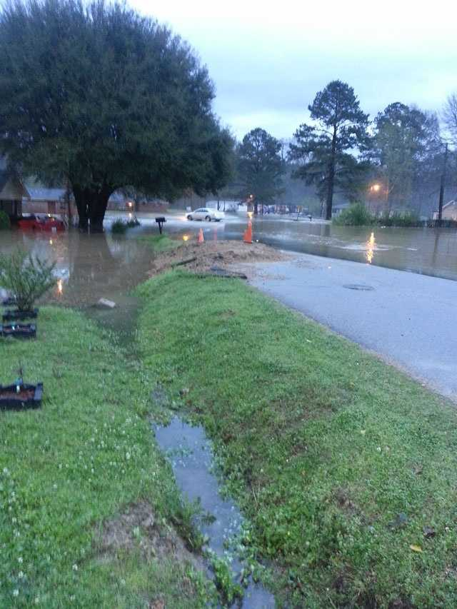 The mayor of Crosby says several homes were flooded as a result of overnight storms.