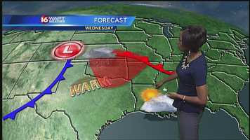 16 WAPT meteorologist Brittany Bell says there's a chance of an isolated shower in the Mississippi Delta Wednesday afternoon, but most areas will remain dry.