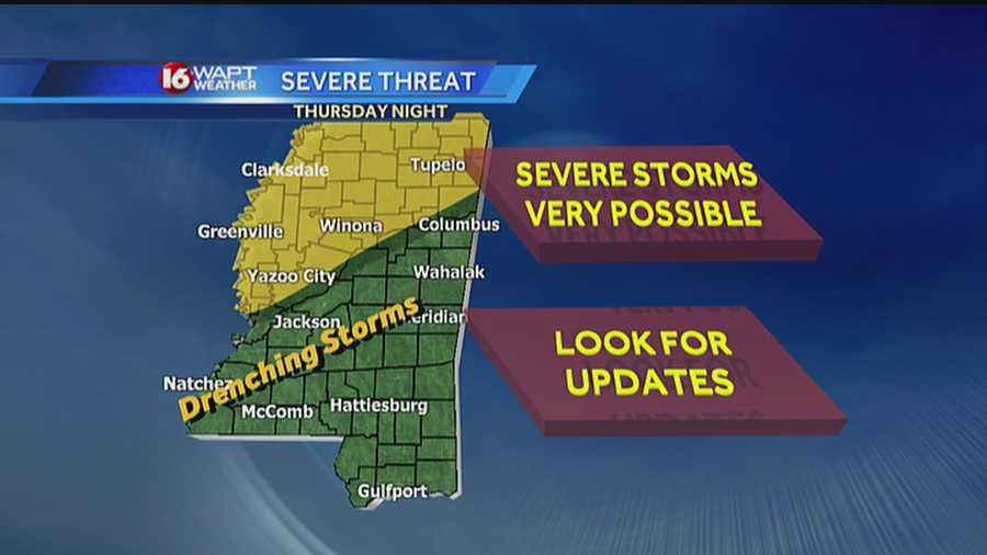 Late Thursday night, showers and storms will push into the area, some of which could be severe, the 16 WAPT Weather Team says.
