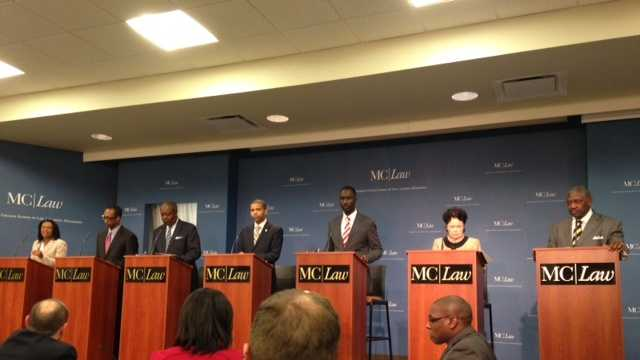 Seven of the 13 candidates for Jackson mayor debate. The candidates are, from left to right, Regina Quinn, Melvin Priester Jr., Harvey Johnson Jr., Chokwe Antar Lumumba, Tony Yarber, Margaret Barrett-Simon and John Horhn.