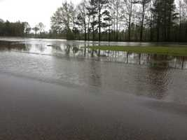 Dabbs Creek overflowed its banks onto Highway 49.