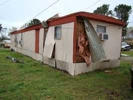Neshoba County emergency officials say a tornado damaged 16 structures, including nine mobile homes, in the Sandtown community.