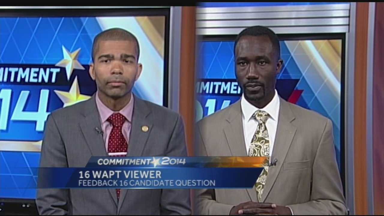 Candidates for Jackson mayor, Chokwe Antar Lumumba and Tony Yarber, answer a question from a 16 WAPT viewer about how they will tackle problems with crime and abandoned homes.