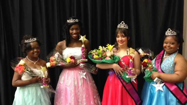 Clinton students (from left) Erin Jenkins, Ashley Martin and (far right) Tremilya Bracey competed in the Miss Amazing pageant this weekend. Also pictured is former Clinton student Heather Boyte.