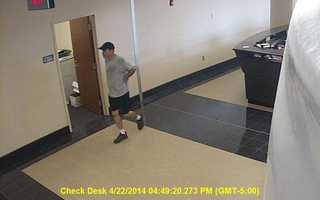 Madison police have released surveillance photos of a man accused in thefts from lockers at local fitness centers.