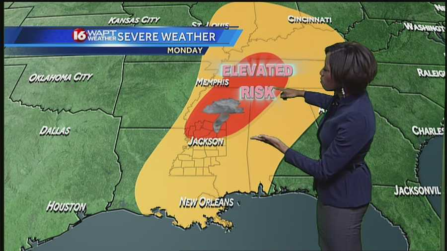 Severe weather is in the forecast for areas of Mississippi through Tuesday.