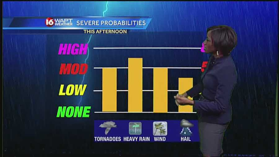 Some of the storms could be strong.  The northern half of the state is favored for the strongest tornadoes, but they are possible across the entire 16 WAPT area.