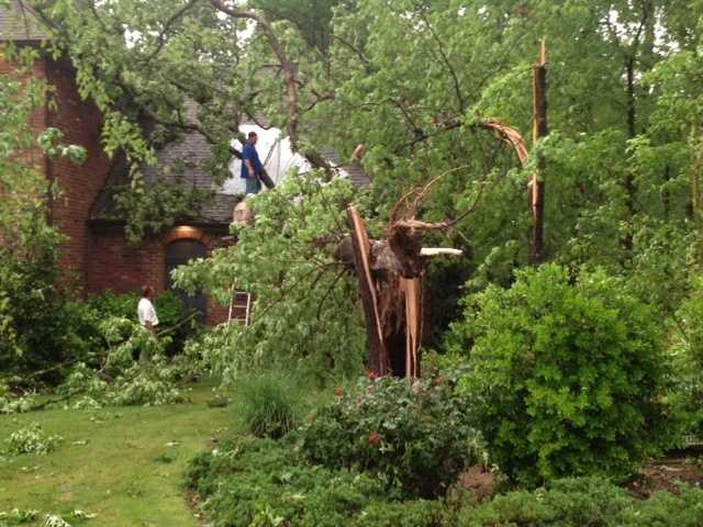 Storm damage in the Reunion neighborhood.