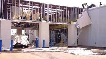 Storm damage at Bob Boyt Honda in Brandon.