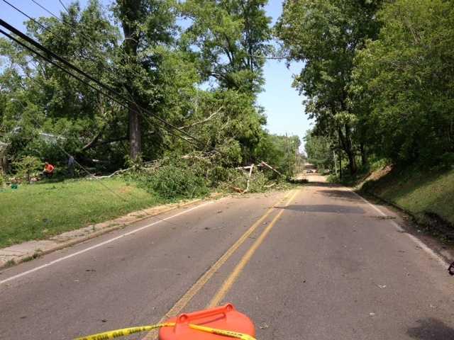 Storm damage on College Street in Brandon.
