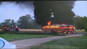 A Claiborne County school bus catches fire on Highway 28 in Copiah County.