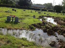 The cemetery is prone to standing water, city officials say.