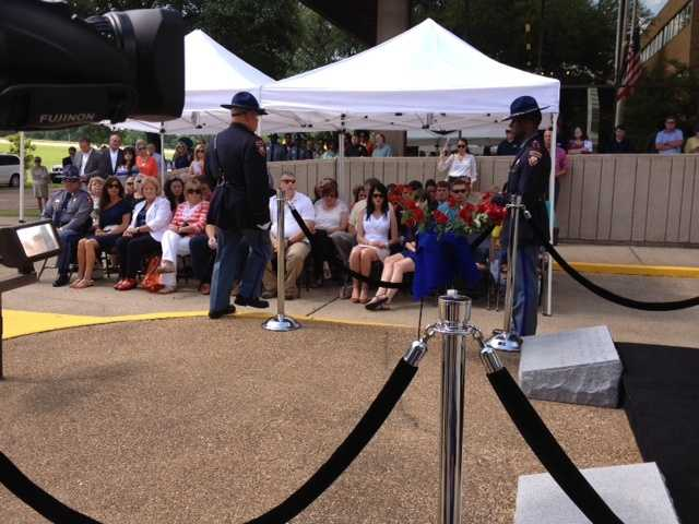 A memorial ceremony was held Tuesday at DPS Headquarters on Woodrow Wilson Boulevard in Jackson.