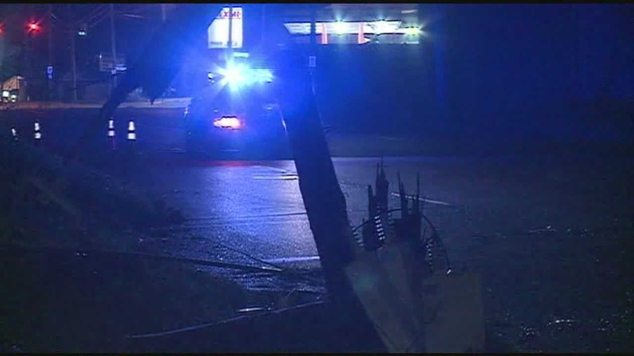 A portion of one Jackson neighborhood was in the dark for hours after an overnight crash into a power pole.