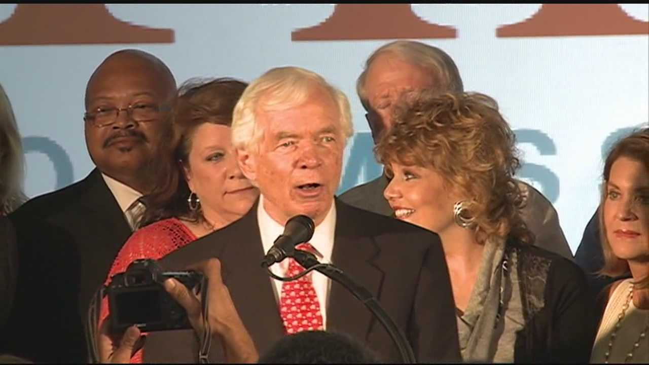 Sen. Thad Cochran congratulates Mississippi voters after winning the Republican primary election for U.S. Senate.