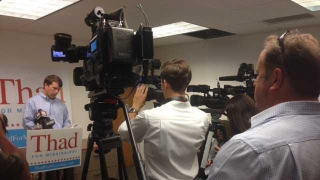 Austin Barbour, the spokesman for Thad Cochran's campaign, addresses the media.